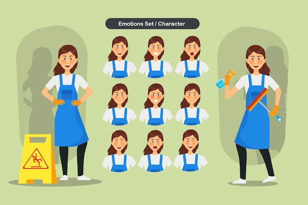 Conjunto de limpeza design de personagens de funcionários de mulher. apresentação em várias ações com emoções, corrida, pé e caminhada.