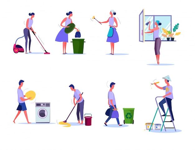 Conjunto de limpeza e arrumação
