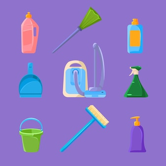 Conjunto de limpeza e trabalhos domésticos