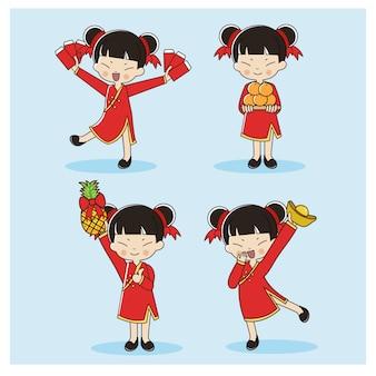 Conjunto de linda garota chinesa em trajes tradicionais.