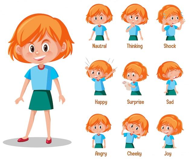 Conjunto de linda garota com diferentes expressões no rosto