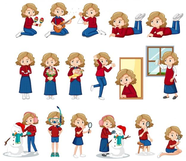 Conjunto de linda garota fazendo atividades diferentes