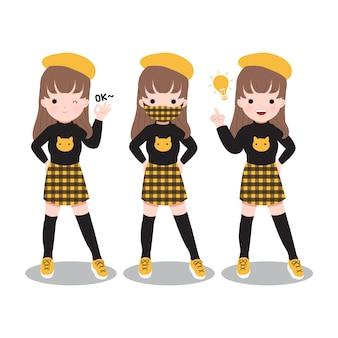 Conjunto de linda garota posando com confiança e usando máscara combinando. novo estilo de moda normal para a temporada de outono.