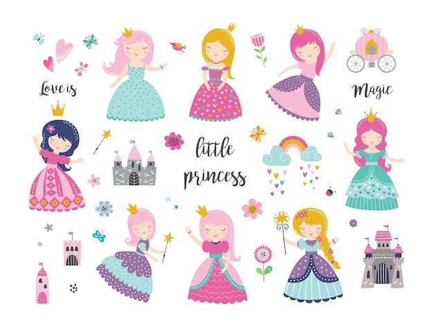 Conjunto de linda princesa, castelo, carruagem, arco-íris, coroa e acessórios.