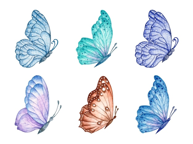 Conjunto de lindas borboletas aquarela isoladas em branco