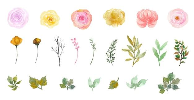 Conjunto de lindas coleções individuais de flores e folhas em aquarela