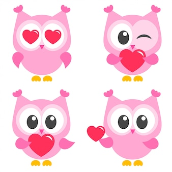 Conjunto de lindas corujas rosa com corações Vetor Premium
