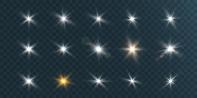 Conjunto de lindas estrelas brilhantes cintilando lindas luzes.