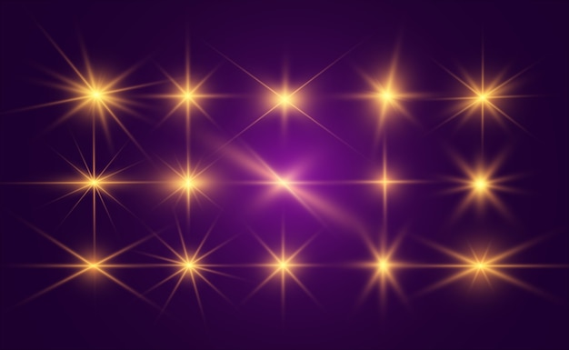 Conjunto de lindas estrelas brilhantes. efeito de luz. estrela brilhante.