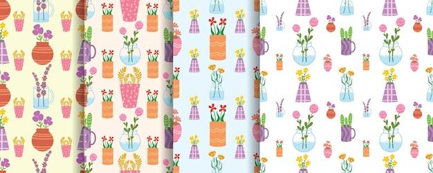 Conjunto de lindas flores sem costura padrão com vaso decorado