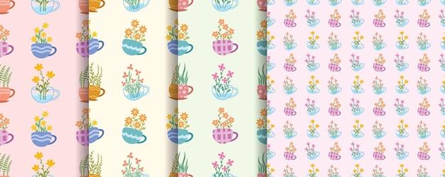 Conjunto de lindas flores sem costura padrão com xícara de chá decorada