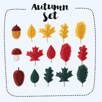 Conjunto de lindas folhas caídas de outono, bolota, cone e cogumelo, isolado no branco