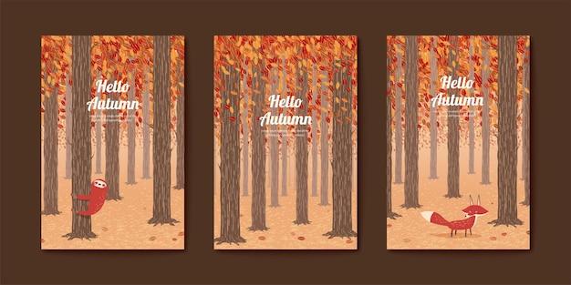 Conjunto de lindas ilustrações para o outono, raposa vermelha e preguiça na floresta de outono
