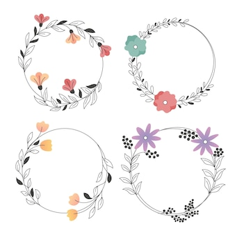 Conjunto de lindas molduras florais