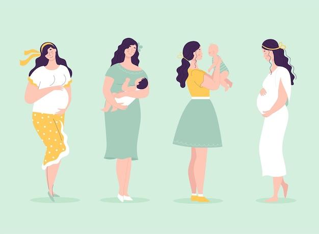 Conjunto de lindas mulheres grávidas em pleno crescimento
