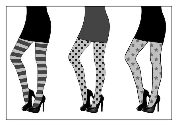 Conjunto de lindas pernas femininas em meia-calça estampada, preto e branco