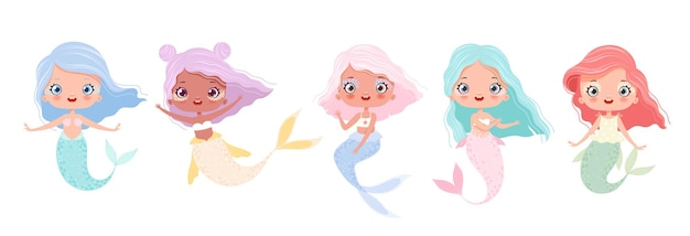 Conjunto de lindas sereias em estilo cartoon fabulosa pequena sereia isolada no fundo branco