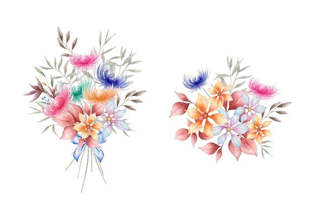 Conjunto de lindo arranjo de buquê de flores em aquarela de primavera desenhada à mão