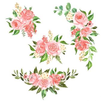 Conjunto de lindo arranjo de flores em aquarela rosa rosa