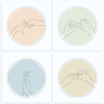 Conjunto de lindo casal de mãos dadas ilustração estilo arte linha minimalista