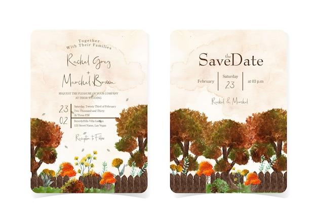 Conjunto de lindo convite de casamento de outono