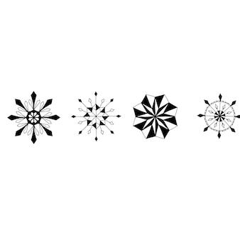 Conjunto de lindo floco de neve desenhado à mão. elemento de decoração. monocromático. doodle de vetor