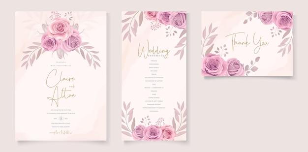 Conjunto de lindo modelo de convite de casamento com enfeite de flor de rosas desenhadas à mão