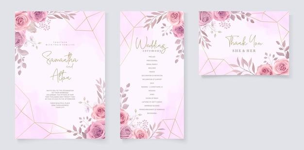 Conjunto de lindo modelo de convite de casamento com enfeite de flores de rosas desenhadas à mão