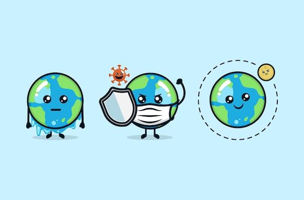 Conjunto de lindo planeta terra com várias questões ambientais, mascote, ilustração de design