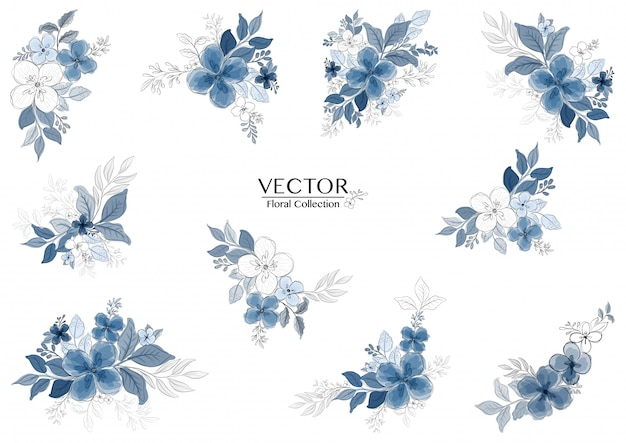Conjunto de lindo ramo floral aquarela azul