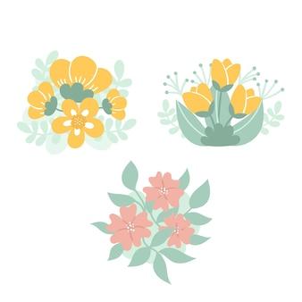 Conjunto de lindos arranjos de flores delicadas
