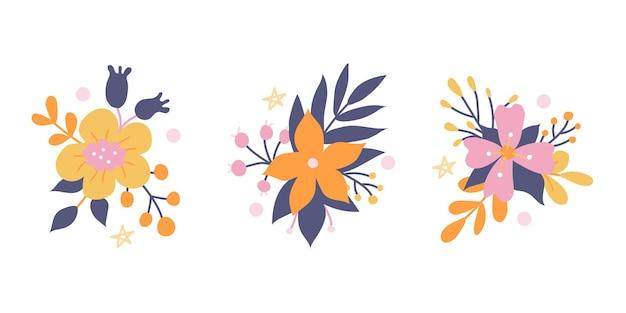 Conjunto de lindos buquês de flores em uma jarra e regador