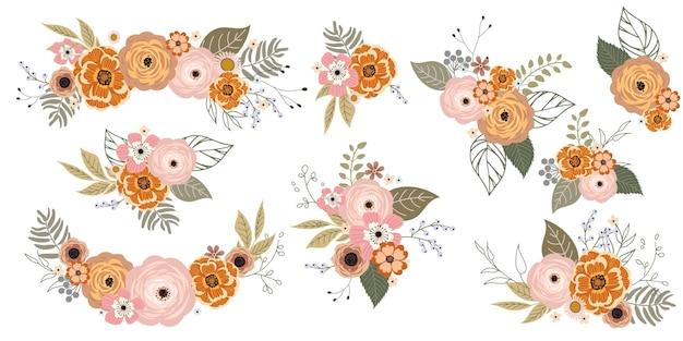 Conjunto de lindos cachos florais