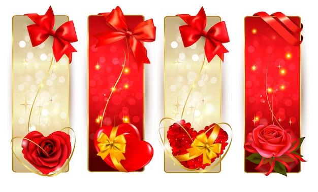 Conjunto de lindos cartões com laços vermelhos de presente com fitas