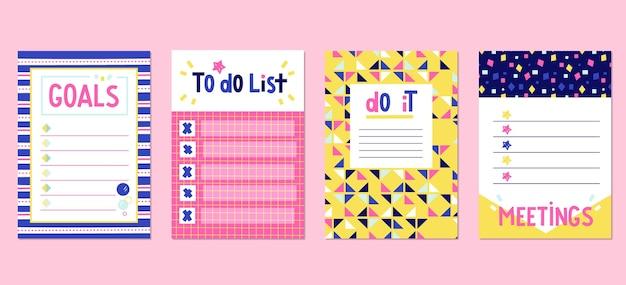 Conjunto de lindos cartões e notas de scrapbook Vetor grátis