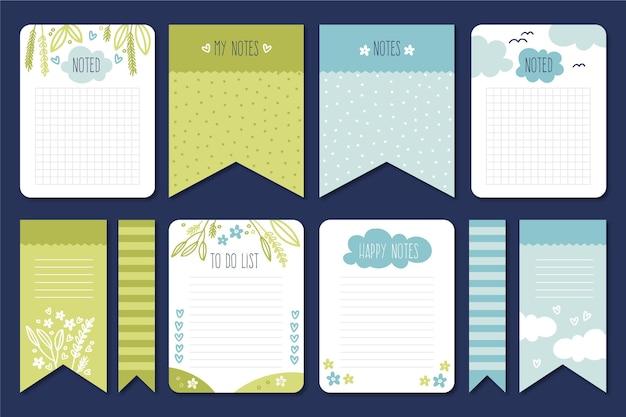 Conjunto de lindos cartões e notas de scrapbook