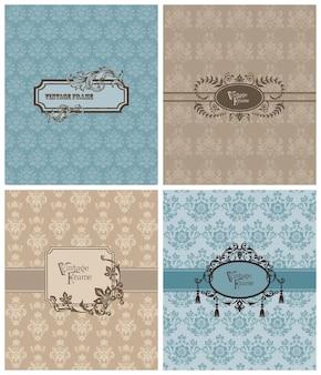 Conjunto de lindos cartões retrô para convite, saudações, casamento