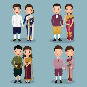 Conjunto de lindos casais tailandeses