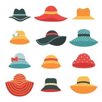 Conjunto de lindos chapéus femininos de verão. chapéus com abas largas e estreitas.