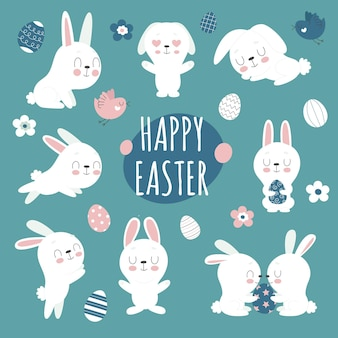 Conjunto de lindos coelhinhos da páscoa, flores e ovos decorados