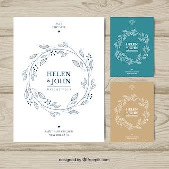 Conjunto de lindos convites de casamento desenhados à mão