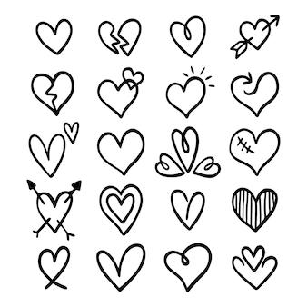 Conjunto de lindos corações rabiscados