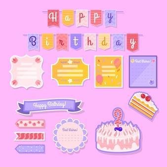 Conjunto de lindos elementos de página de recados de aniversário
