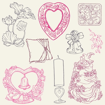 Conjunto de lindos elementos desenhados à mão para casamento