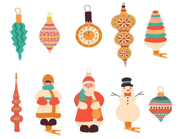 Conjunto de lindos enfeites vintage e brinquedos para árvore de natal.