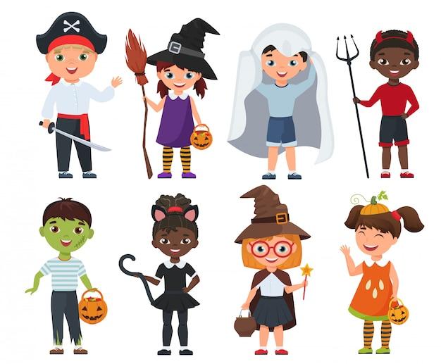 Conjunto de lindos filhos de halloween. ilustração em vetor dos desenhos animados