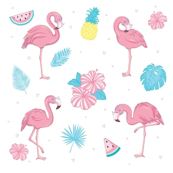 Conjunto de lindos flamingos cor de rosa. ilustração de verão