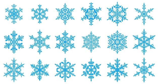 Conjunto de lindos flocos de neve de natal complexos, azul claro sobre fundo branco