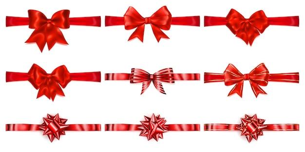 Conjunto de lindos laços vermelhos com fitas horizontais com sombras