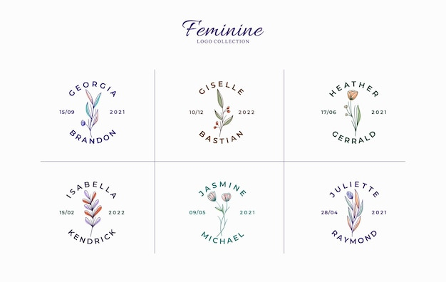 Conjunto de lindos logotipos florais minimalistas com nomes de noivas